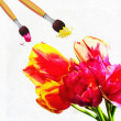 Painted tulips — Stock Photo