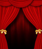 Red curtain with golden bows — Stock Photo
