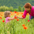 Mother and daughter in poppy field — Stock Photo #10780305