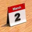 Calendar on desk - March 2nd — Stock Photo