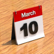 Stock Photo: Calendar on desk - March 10th