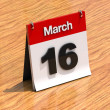 Stock Photo: Calendar on desk - March 16th