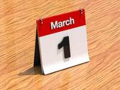 Calendario de escritorio - 1 de marzo — Foto de Stock