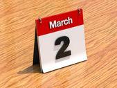 календарь на столе - 2 марта — Стоковое фото