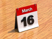 Calendar on desk - March 16th — Stock Photo