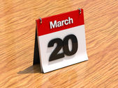 Calendar on desk - March 20th — Stock Photo