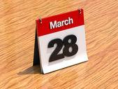 Calendar on desk - March 28th — Stock Photo