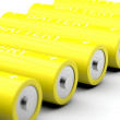 Macro shot of yellow batteries — Stock Photo