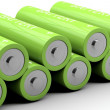 Two rows of green batteries — Stock Photo