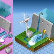 Isometric watermill and wind turbine in production of energy - Stock Vector