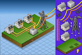 Isometric houses with solar panels in production of energy — Vector de stock