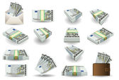 Full set of five euros banknotes — Stock Vector