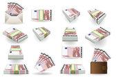 Full set of ten euros banknotes — Stock Vector