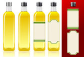 Four olive oil bottles — Stock Vector