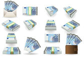 Full set of twenty euros banknotes — Stok Vektör