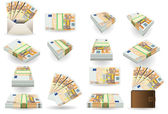 Full set of fifty euros banknotes — Stock Vector