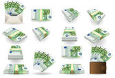 Full set of hundred euros banknotes — 图库矢量图片