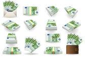 Full set of hundred euros banknotes — Stock Vector