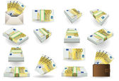 Full set of two hundred euros banknotes — Stock Vector