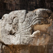 mayan carved snake head at chichen itza — Stock Photo
