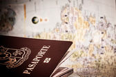 Passport & world map — Stock Photo