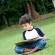 Young boy enjoying his reading book in outdoor park — Stock Photo