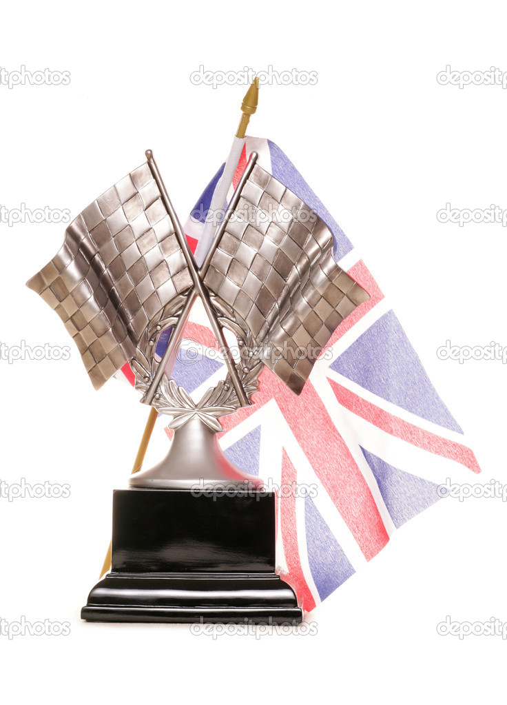 Racing trophy and union jack flag on white background — Stock Photo #11363191