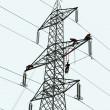 Stock Photo: Workers at work on trellis tension for maintenance of electrical