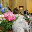 Stock Photo: Flowers to adorn nave of Church during wedding
