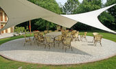 Awning to shade the chairs of the guests during a reception — Stock Photo