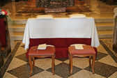 Comfortable seats for the bride and groom before the wedding — Stock Photo
