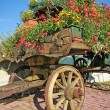 Stock Photo: Old wooden cart with pots of Geraniums flowers
