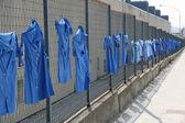 Camisas azules se estiran en la red durante una huelga de trabajadores — Foto de Stock