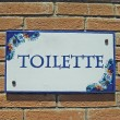 Ceramic colorful sign with indication of toilet — Stock Photo #11626824