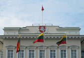 Flags of Lithuania with the governmental Palace in the backgroun — Stock Photo