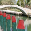 Posts for the mooring of boats and the Devil's bridge — Stock Photo