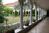 Cloister of the old convent of monks — Stock Photo