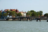 Old wooden bridge to Mazzorbo connect with the island of Burano — Stock Photo