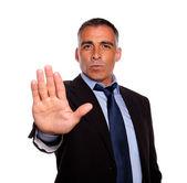 Hispanic senior businessman giving the high — Stock Photo