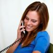 Lovely pretty girl speaking on phone — Stock Photo #11161747