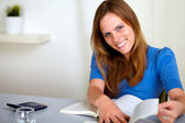 Lovely young student woman smiling — Stock Photo