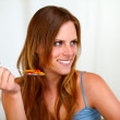 Pretty blonde woman eating healthy meal — Stock Photo #11276233