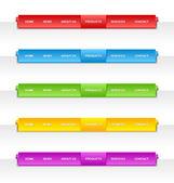 Colorful folded paper navigation menu — Stock Vector