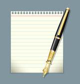 Pluma de tinta y papel ilustración de la hoja — Vector de stock