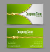 Zipper theme business card — Stock Vector