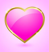 Pink and golden heart — Stock Vector