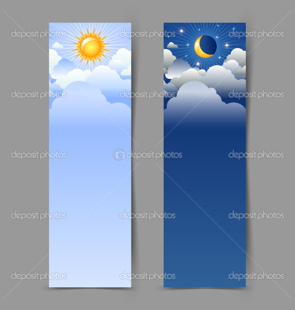Day and night banners isolated on grey background — Stock Vector #11692867