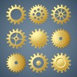 Stock Vector: Golden cogwheels