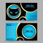 gatto testa tema business card — Vettoriale Stock  #12373420