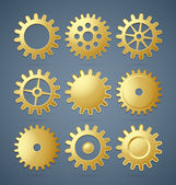 Golden cogwheels — Stock Vector